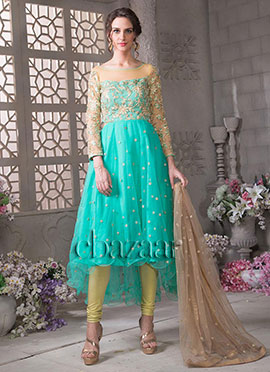 Bollywood Vogue Asymmetric Kameez N Churidar Suit