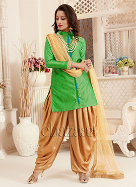 Bollywood Vogue Beige N Green Dhoti Pant suit