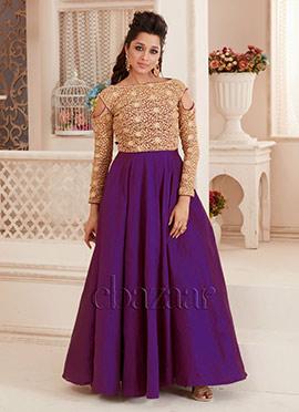 Bollywood Vogue Beige N Purple Bridesmaid Gown