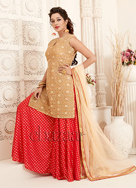 Bollywood Vogue Beige N Red Gorgeous Sharara Suit