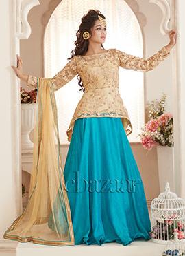 Bollywood Vogue Beige N Turquoise Lehenga set