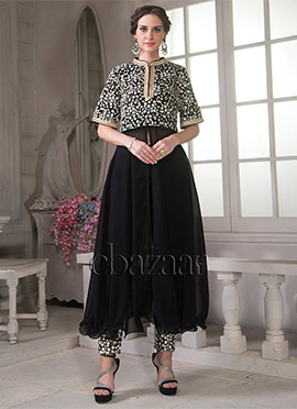 Bollywood Vogue Black Trendy Straight Pant Set