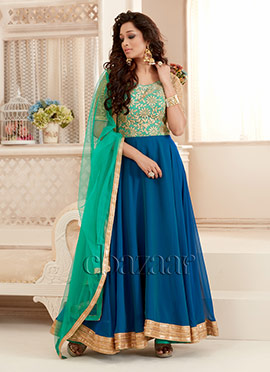 Bollywood Vogue Blue Off Shoulder Anarkali Suit