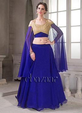 Bollywood Vogue Blue N Gold Cape Sleeve Lehenga
