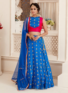 Bollywood Vogue Blue N Pink Ethnic Top Lehenga Set