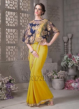 Bollywood Vogue Cape Style Saree N Blouse