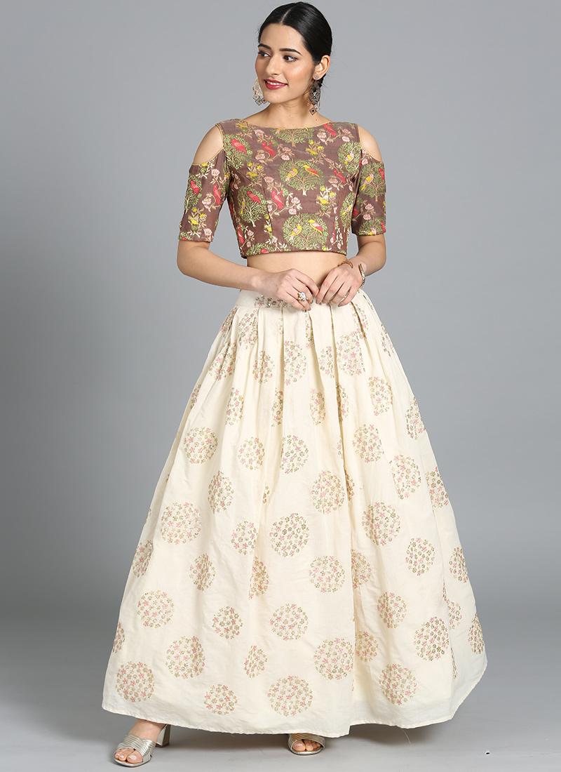83b26b636 Buy Bollywood Vogue Custom Made Brown Skirt Set, Party ...
