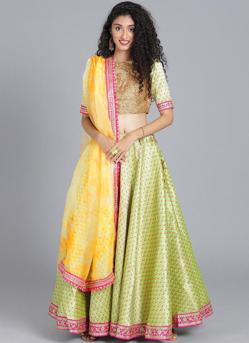 86834eed9f Buy Bollywood Vogue Custom Made Green Lehenga Set, Wedding ...