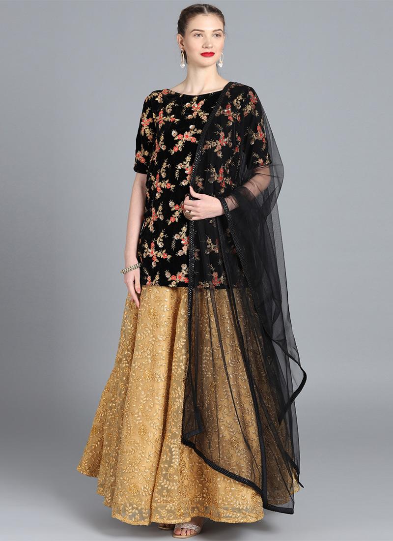 59e33ffd040b Buy Bollywood Vogue Customised Black Lehenga Set