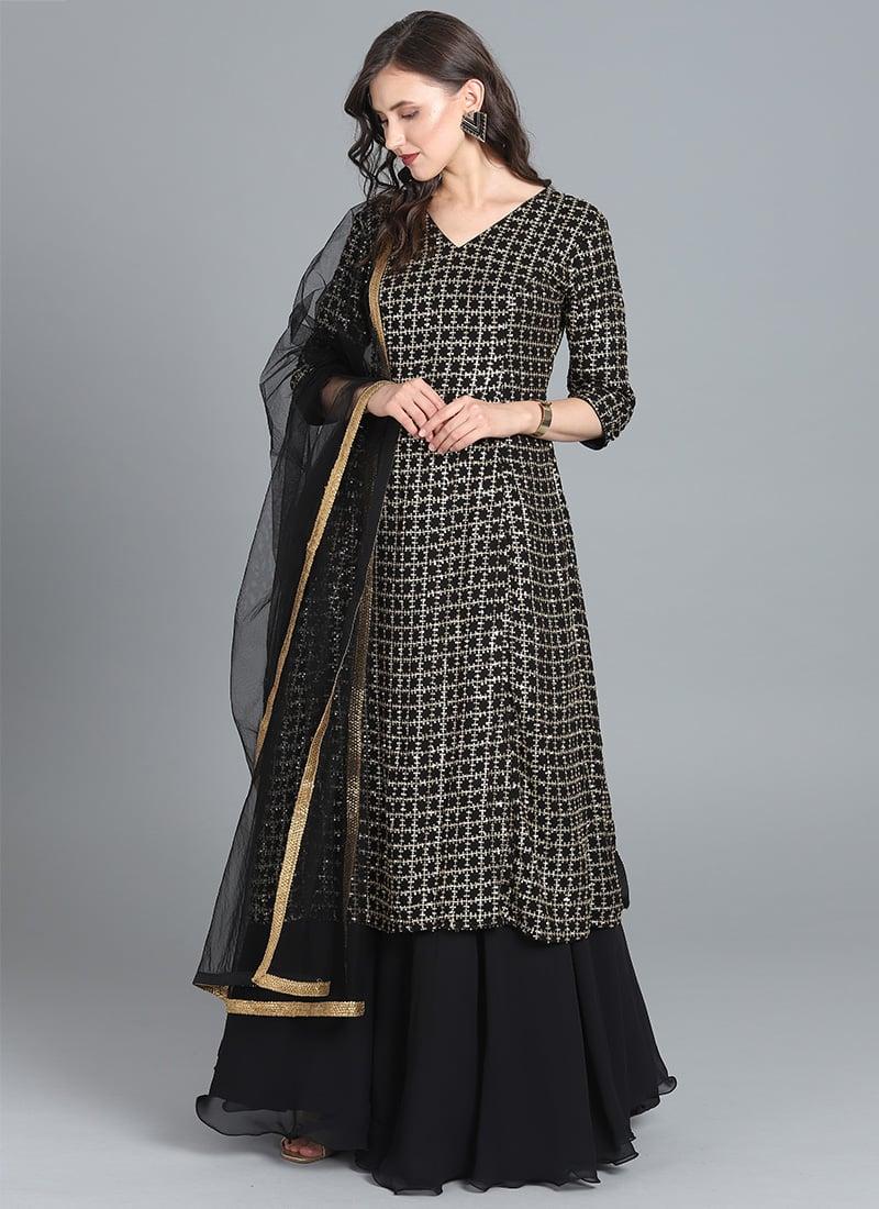 aef24cd77a Buy Bollywood Vogue Customised Black Lehenga Set, Festive ...