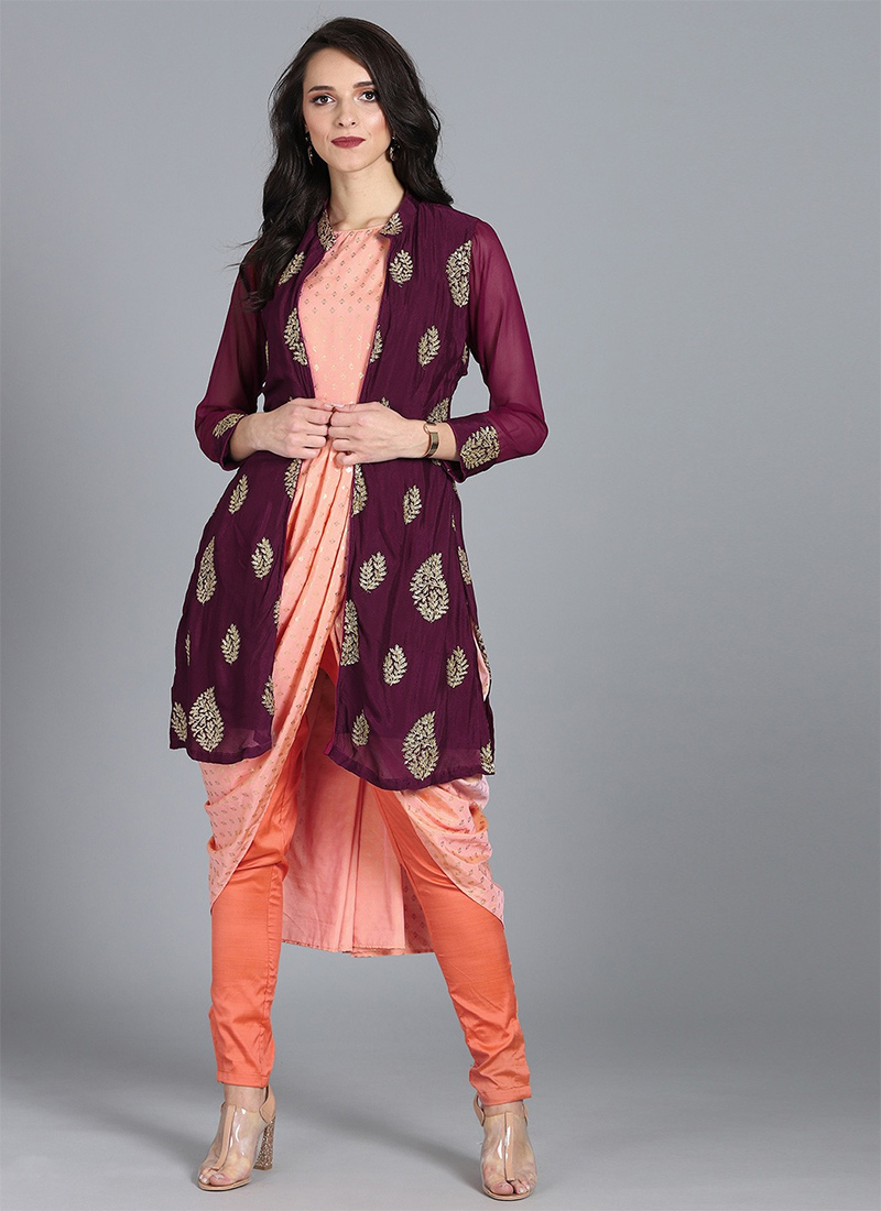 Shop Bollywood Vogue Customised Draped Dress N Jacket Made To Measure Dress For Women In All Sizes Iwbv01905156