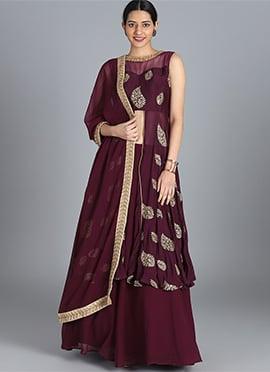 61926a1372 Buy Burgundy Lehenga Online | Online Burgundy Lehengas | Indian ...