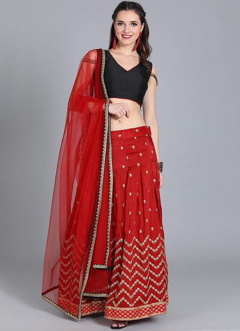 f17506e56 Buy Bollywood Vogue Customised Red Embroidered Lehenga