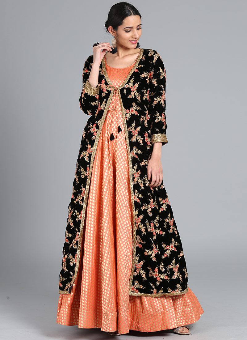 7f93d0056b15 Buy Bollywood Vogue Customized Black N Peach Gown Set