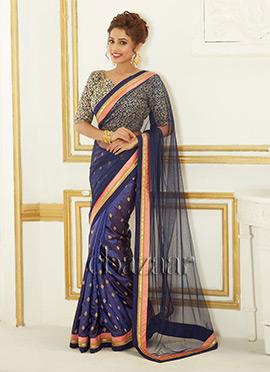 Bollywood Vogue Dark Blue Net Saree