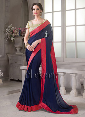 Bollywood Vogue Embroidered Blouse N Plain Saree