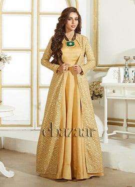 Bollywood Vogue Beige Art Silk Gown