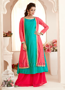 Bollywood Vogue Green N Pink Palazzo Suit