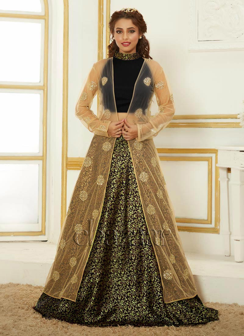 Buy Bollywood Vogue Jacket Style Crop Top N Skirt, Sequins ...