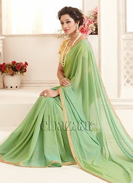 Bollywood Vogue Light Green Georgette Border Saree