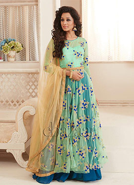 Bollywood Vogue Mint Green Anarkali Lehenga set