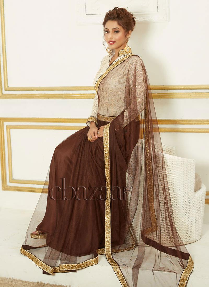 Bollywood Vogue Net Saree With Long Blouse Premium