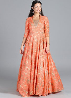 73bc0e4fab Bollywood Vogue Peach Embroidered Gown N Bustiers