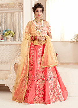 Bollywood Vogue Peach Off Shoulder Lehenga Set