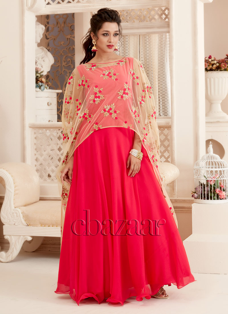 Buy Bollywood Vogue Pink Cape Style Gown Set, Beads , Embroidered ...