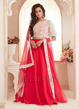 Bollywood Vogue Pink Crop Top Lehenga set
