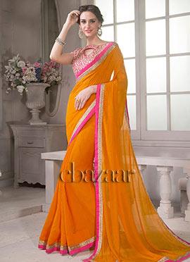 Bollywood Vogue Pink Blouse N Orange Saree