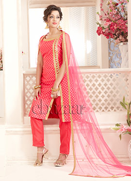 Bollywood Vogue Pink High Slit Straight Pant