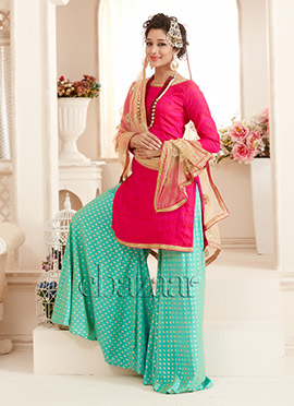 Bollywood Vogue Pink N Aqua Green Palazzo suit