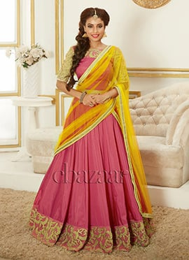 Bollywood Vogue Pink Umbrella Lehenga