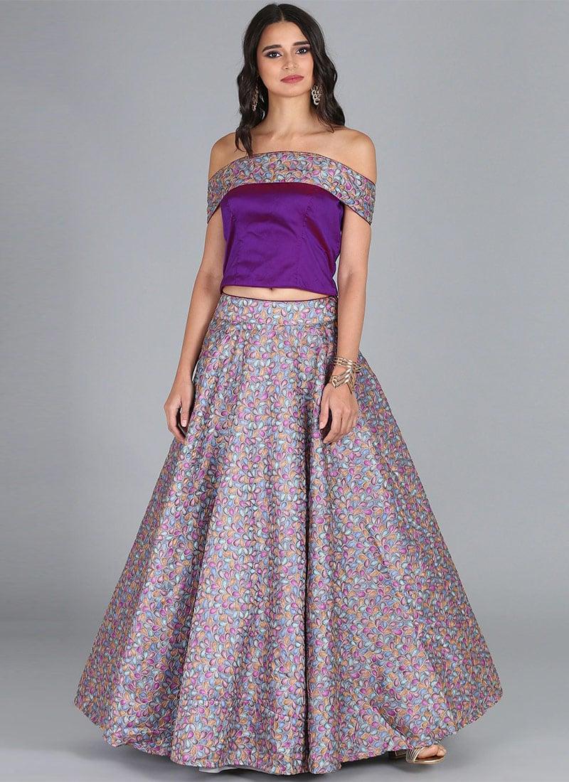 08d3de2335f Buy Bollywood Vogue Purple Embroidered Indowestern Set