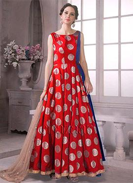 Bollywood Vogue Reddish Dual tone Indowestern Gown