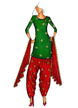 Bottle Green Art Silk Cowled Patiala Suit