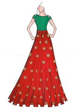 Bottle Green N Red Highwaisted Skirt N Crop Top