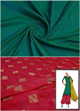 Bottle Green N Red Long Kurta Palazzo Suit