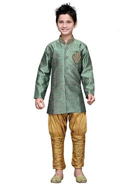 Breeches Style Green Hand Work Boys Sherwani