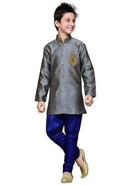 Breeches Style Grey Hand Work Art Silk Boys Sherwa