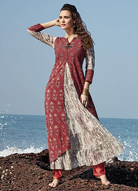 Brick Red N Off White Chanderi Cotton Kurti