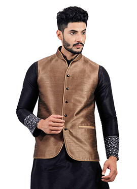 Brown Art Silk Nehru Jacket