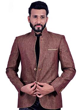 Brown Jute Silk Bandhgala Jacket