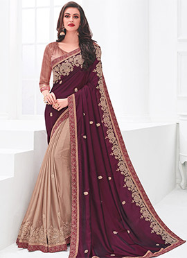 162b4b54d5d Brown N Burgundy Embroidered Half N Half Saree