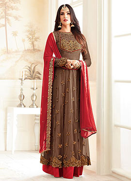 Brown Net Abaya Style Anarkali Suit