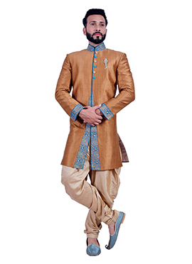 Brown Raw Silk Indowestern Sherwani