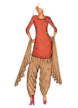 Burnt Orange Art Silk Cowled Patiala Suit