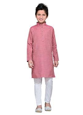 Coral Pink Cotton Teens Kurta Pyjama