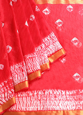 Coral Red Art Silk Saree